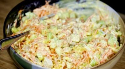 Новый вариант праздничного салатика с корейской морковкой и курицей