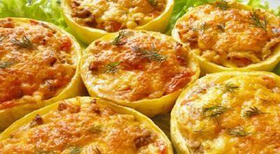 Очень вкусные фаршированные кабачки с сыром и грибами