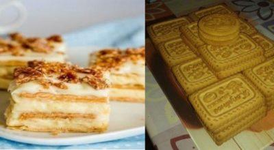 Вкусный торт из печенья и творожного крема без выпечки