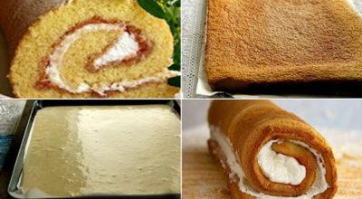 Рецепт удачного бисквитного рулета — пышный, мягкий, легко сворачивается!