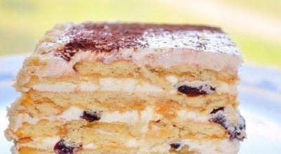 Торт без выпечки с печеньем