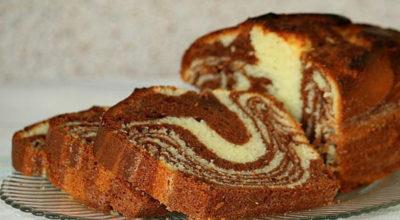 Мраморный кекс на сгущёнке. Обожаю этот вкусный десерт за быструю готовку!