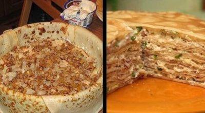 Необычный блинный пирог с курицей и грибами