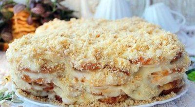 Самый ленивый торт «Наполеон» без выпечки из печенья «Ушки»