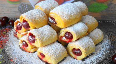«Вишни под снегом» за 30 минут — невесомое и хрустящее печенье с кислинкой