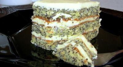Маковый торт со сливочно-лимонным кремом