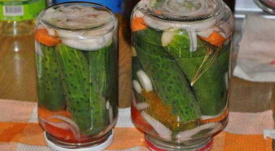 Огурцы по-болгарски в литровых банках