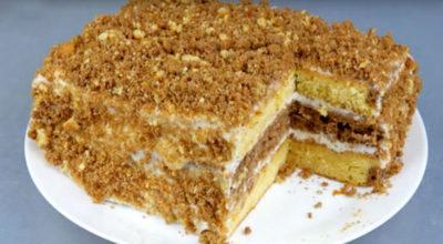 Торт со сгущенкой быстрого приготовления. Через 30 минут уже готов