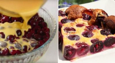 Нежный французский десерт, в котором много начинки и мало теста. Пирог-запеканка «Клафути»