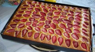 Пирог с клубникой. Очень вкусный и быстрый десерт