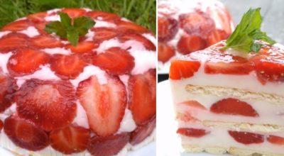 Привезла с дачи клубнику, приготовили вчера самый летний десерт. На всё про всё — 30 минут, 300 г ягод и 100 г печенья