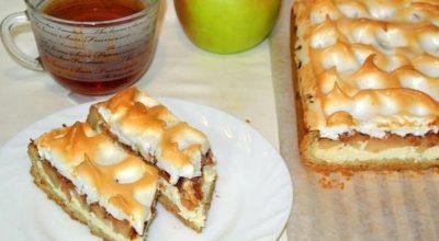Нежный и ароматный песочный пирог с творожно-яблочной начинкой и верхушкой-безе