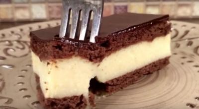 Быстрый торт «Птичье молоко» за 15 минут. Без выпечки