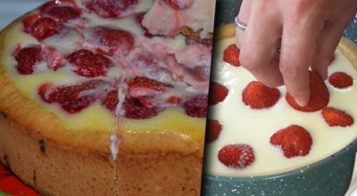 Заливной Клубничный пирог — бесподобный летний десерт