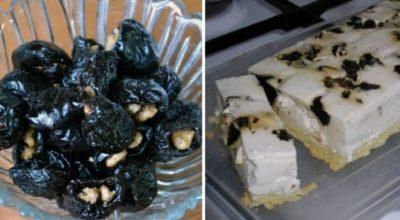 200 г чернослива, 350 мл сметаны, горстка грецких орехов — идеальный десерт готов