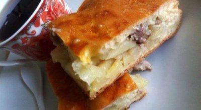 Быстрый сочный и вкусный пирог с мясом, для которого не нужно тесто