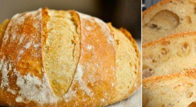 Домашний хлеб без замеса: рецепт очень прост как раз, два, три. Пышный, душистый, с хрустящей корочкой…