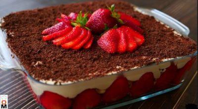 Клубничный десерт Тирамису с творожным кремом