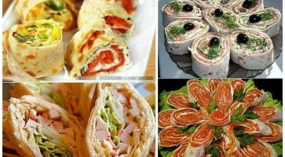 Несколько вариантов вкусных закусок из лаваша и колбасы на скорую руку