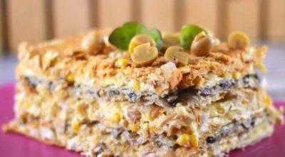 Потрясающий закусочный торт «Наполеон» с курицей и грибами