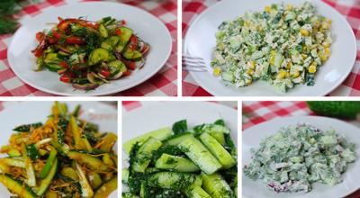 Топ-5 салатов и закусок из свежих огурцов