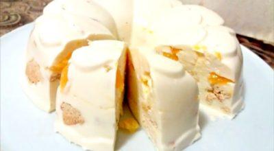 Торт без выпечки «Снежок»: нежный десерт за пару минут