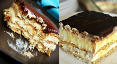 Восхитительно вкусный торт «Эклер» без выпечки из 4 ингредиентов