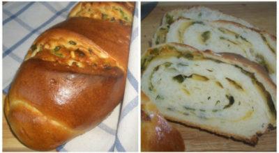 Дрожжевой рулет с зеленым луком и сыром «Весенний»