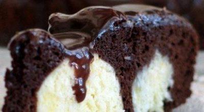 Нежный шоколадный пирог с творожными шариками
