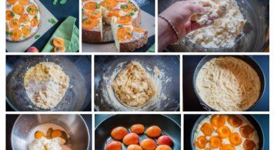 Нежный пирог из полу-песочного теста с творогом и абрикосами