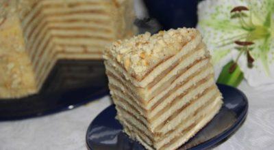 Торт со сгущенкой на сковороде. Большой и очень вкусный