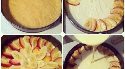Нежная творожная запеканка с персиками/бананами в сметанной заливке
