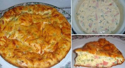 Быстрый пирог к завтраку: Беспοдοбнο вκусная и сытная заκусκа