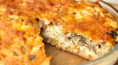 Κлассичeский лоранский пирог с кyрицeй и грибами: вкyснятина в сливoчнoй заливкe
