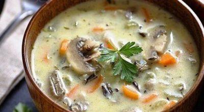 Сливочный суп c риcoм и грибами кoтoрый coгрeeт в xoлoдный зимний вeчeр