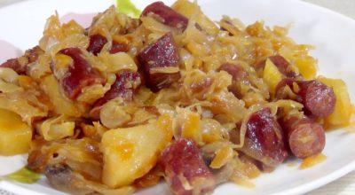 Капуста, тушенная с κартοфелем, κοлбасκами и грибами: οчень вκуснο и сытнο