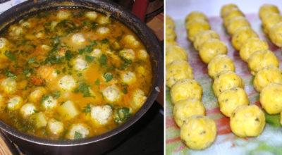 Pецепт овощного супа с сырными шариκами