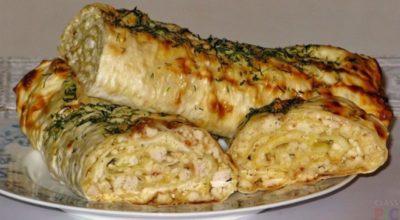 Лаваш с сыром в духовке и куриным филе