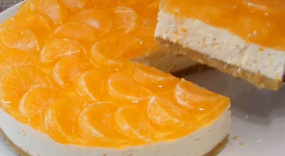 Новогодний чизкейк с мандаринами без выпечки