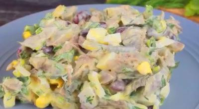 Простой и вкусный мясной салат без майонеза