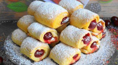 Печенье «Вишни под снегом» — невесомое и хрустящее и готовится всего 30 минут
