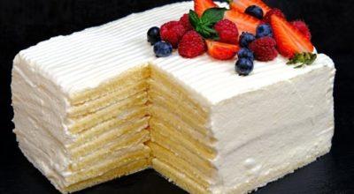 Торт «Молочная девочка» за 30 минут без раскатки коржей