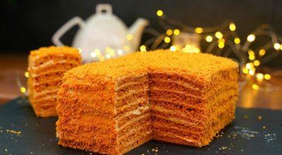 Торт «Карамелька» за 30 минут (без раскатки коржей)