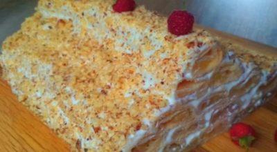 Торт «Яблочная избушка» со сметанным кремом
