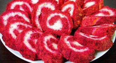Закуска на праздник-красный рулет с сыром