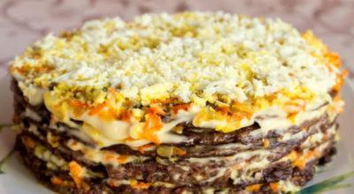 Как приготовить великолепный печеночный торт быстро и просто