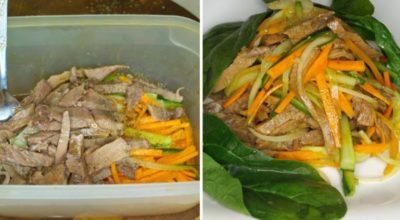 Рецептом салата «Северного» с языком и овощами