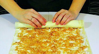 Пирог из творога, яблок  и лаваша