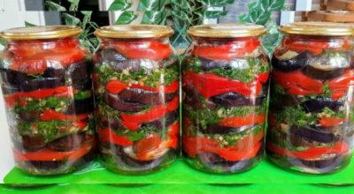 Рецепт вкусного салата из баклажанов и перчика на зиму