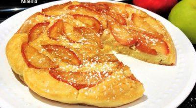 Всего10 минут. Ленивый яблочный пирог на сковороде к чаю или завтраку. Карамельные яблочки